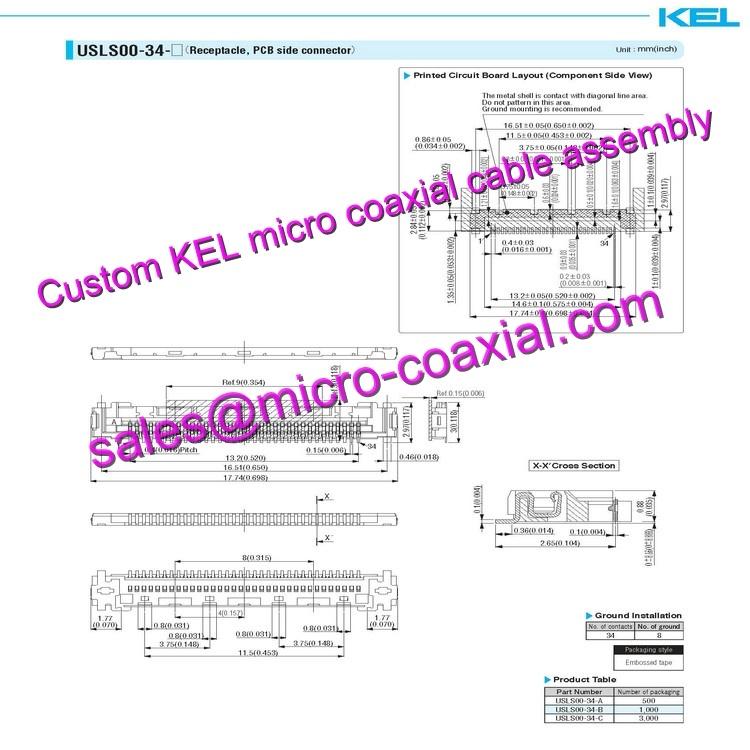 OEM ODM KEL SSL20-30SB Micro Coaxial Cable KEL TMC01-51S-A