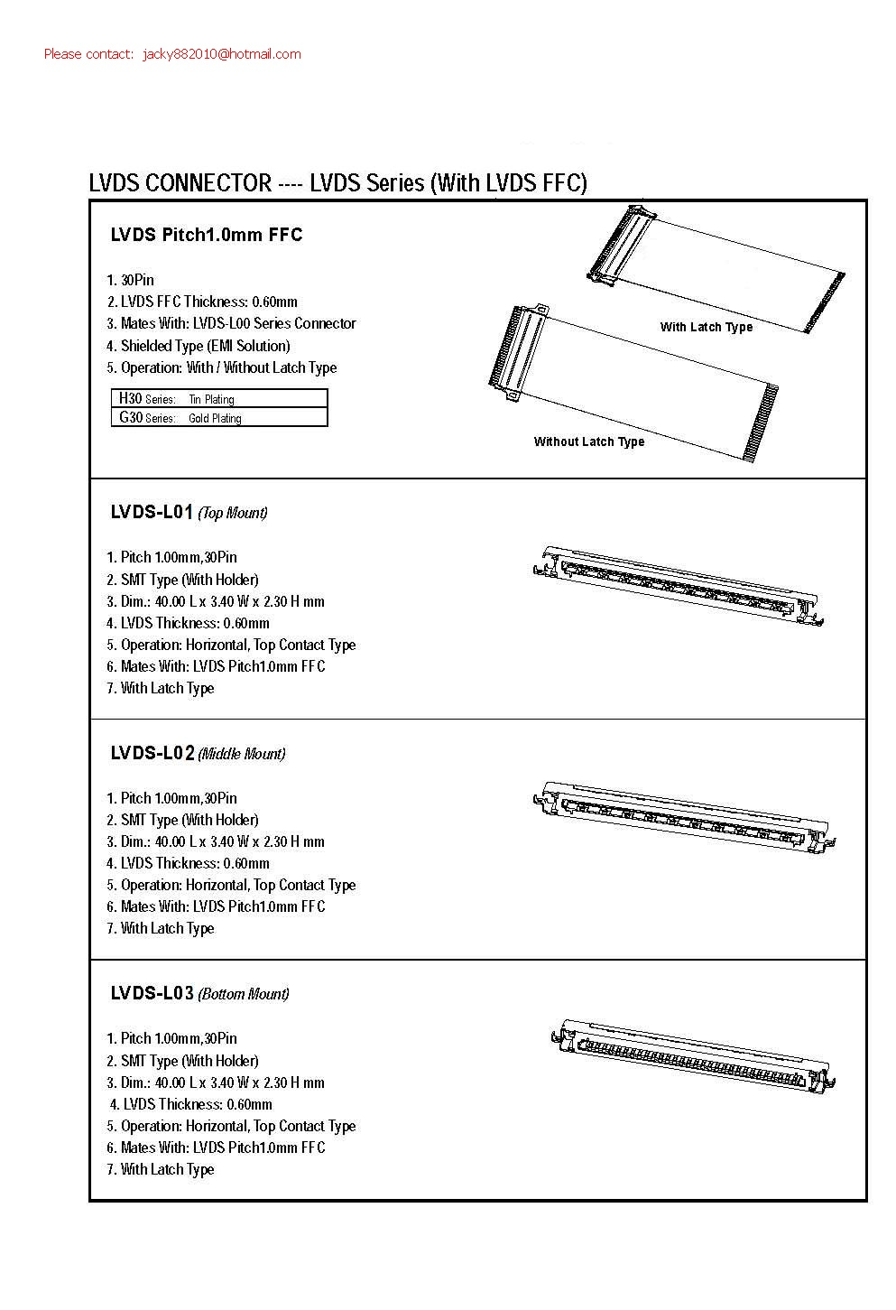 1.0 mm picth FFC LVDS cables