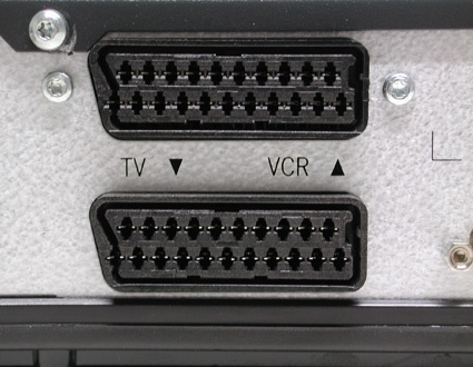 SCART ports for TV and video recorder on a set-top box