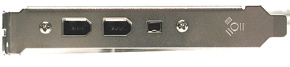 This Firewire card offers two large 6-pin ports with one smaller 4-pin variant