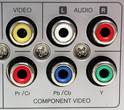 Color coding example from a typical set-top box: yellow for composite video (FBAS), a pair of white and red jacks for analog stereo, and a trio of jacks in red/blue/green for HDTV components