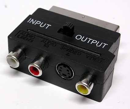 An adapter from SCART to RCA connectors (Composite-Video, 2x audio, and S-Video)