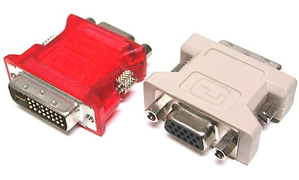 Newer graphics cards often include 2 DVI ports. But it's easy to use a DVI-VGA adapter to switch connections as needed (right in the picture).